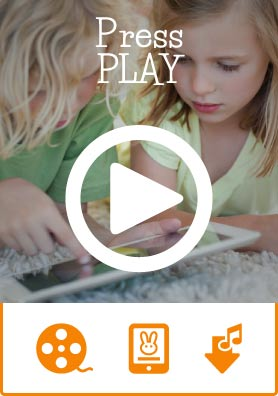 two girls using a tablet, overlay of the words press play and a play button