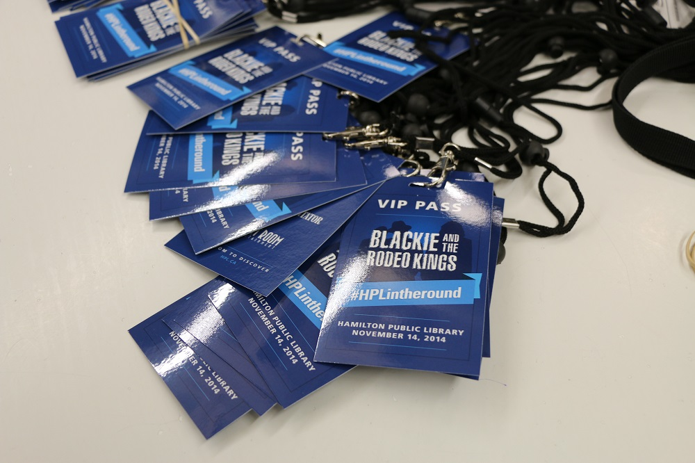 Photo of VIP passes at the Blackie and the Rodeo Kings concert
