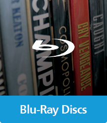 Graphic of Blu-Ray Discs with text and icon