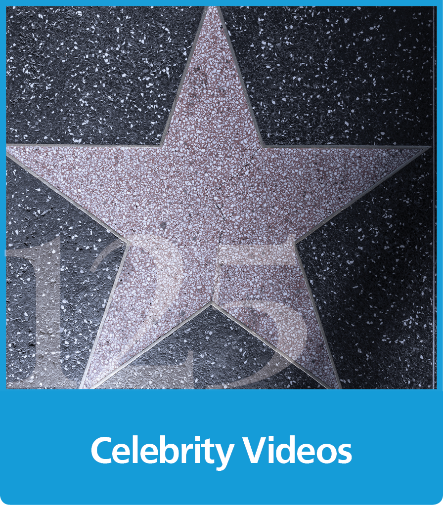 a graphic block with an image of a star and the text celebrity videos