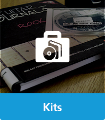 Graphic of Book and CD Kits with text and icon