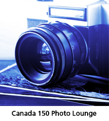 Blue tone image of a camera, with the text Canada Day Photo Lounge