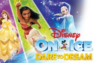 Disney Princesses with text Disney on Ice Dare to Dream