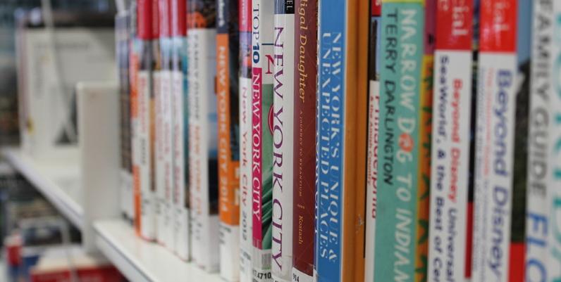Closeup of books on a shelf