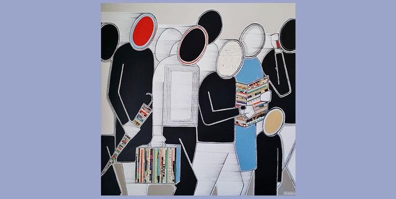 painting of people walking