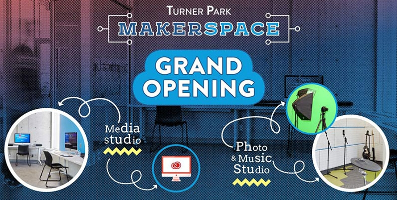 collage of various media equipment with text Turner Park Makerspace Grand Opening