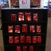 Canadian blind date book display on wooden shelf