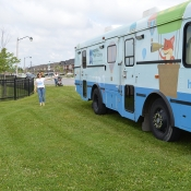 Photo of the HPL Bookmobile parked in Summit Park in June 2015