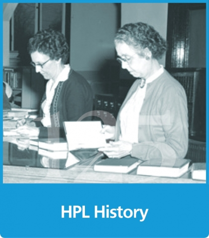 graphic block with a black and white photo of two older females with the text hpl history below