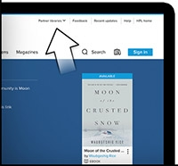 HPL OverDrive Catalogue is displayed with an arrow pointing to the top right corner.