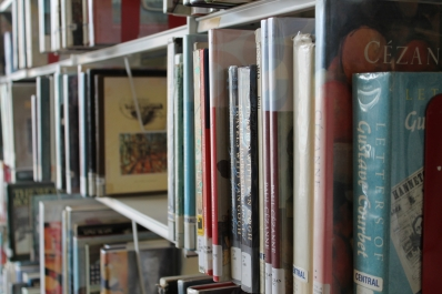 Rows on books on shelves at Central Branch
