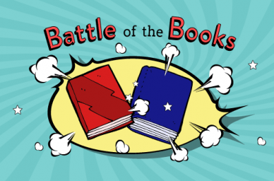 Two cartoon books fighting
