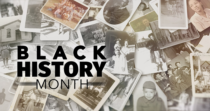 collage of pictures with text Black History Month