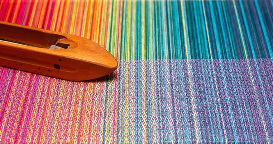 threads on a weaving loom