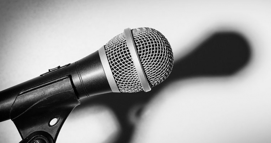 black and white photo of a microphone