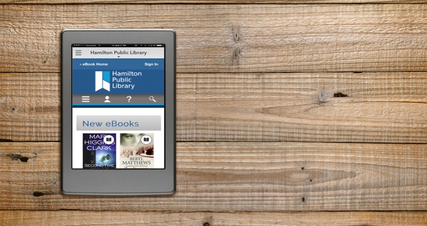 eReader displaying HPL eBook collection