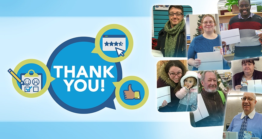 graphic of the word Thank you and collage of ipad winners